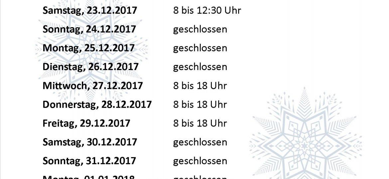 WeihnachtenÖffnungszeiten2017